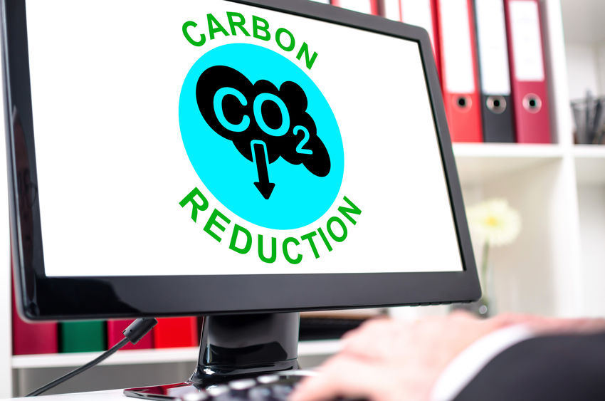 Carbon reduction concept shown on a computer screen