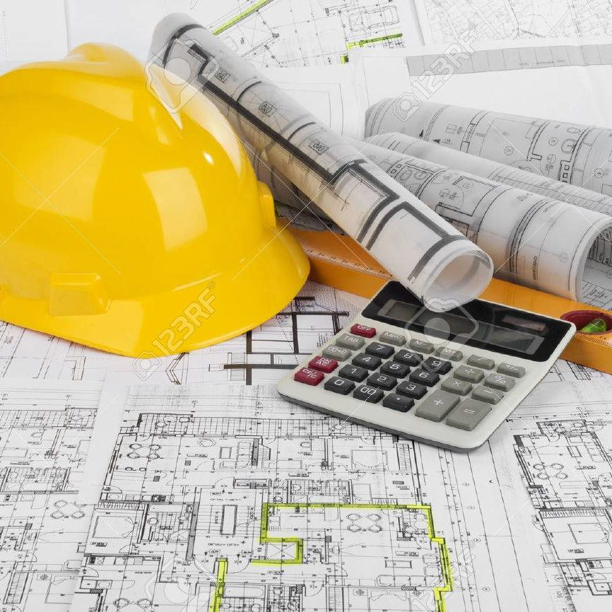 35996532-yellow-helmet-calculator-level-and-project-drawings